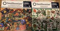 """Lot Of 2 Smithsonian 1000 Pcs Puzzle """"botanicals"""" & """"Vintage Fruit Crate Labels"""""""