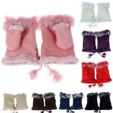 Fashion Mittens Gloves Women Faux Rabbit Fur Hand Wrist Winter Warmer Fingerless