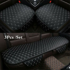 3x Black+White Full Set Front Rear Car Seat Cushion Protector Leather Interior