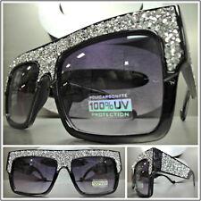 OVERSIZED VINTAGE RETRO Style SUN GLASSES Square Black Bling Frame Custom Made