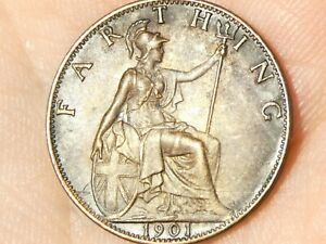 1901 Last Year of Queen Victoria Farthing Coin #EE7