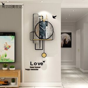 Pendulum Wall Quartz Clock Retro Silent Home Decor Living Room Stickers arts