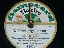 JAZZ 78 rpm RECORD Homocord HOMOCORD TANZ ORCHESTER Yearning / All alone