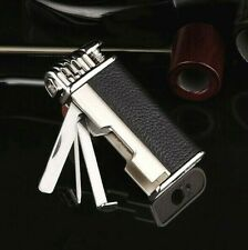 Honest Leather Tobacco Smoking Pipe Lighter Czech Tool - Soft Flame Black/Silver