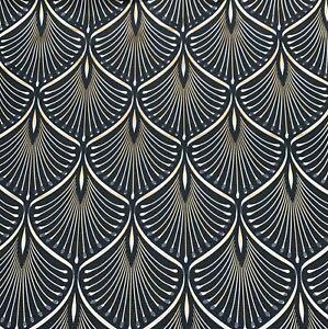 Black Yellow Grey White Retro Fan Slight Imperfect Textured Vinyl Wallpaper