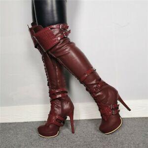 Women Over Knee Boots High Heel Platform Riding Long Boots Nightclub Shoe Buckle