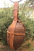 Vintage Gourd Water Vessel with Animal Leather Cover Strap-Rare