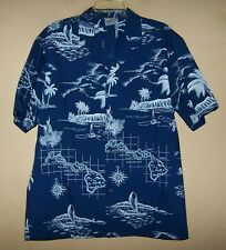 Mens XLarge 5925 ROYAL CREATIONS Blue HAWAIIAN Button Shirt MADE IN HAWAII USA