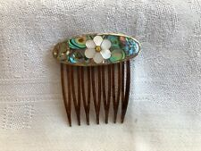 Pearl, handcrafted - inlaid w abalone Vintage Comb, flower of Mother of