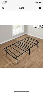 """Mainstays 14"""" High Profile Foldable Twin Steel Bed Frame - Black"""