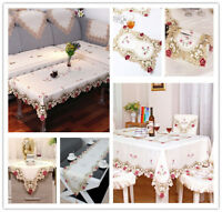 White Embroidered Flower Lace Dining Table Runner/Tablecloth Party Wedding Decor