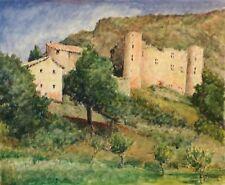 Château de la Charce grande aquarelle signée Valère Drôme