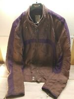 Diesel Mens Moto Jacket Size XL Crush Brown Zip Up - Spell out on Arms