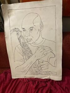 MYSTERIOUS SIGNED AFRICAN AMERICAN MUSICIAN SIGNED PEN AND INK DRAWING