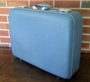 Vintage Blue Jet Flite Hardside Luggage Suitcase