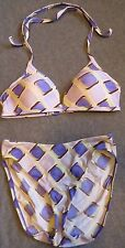 Victorias Secret Bikini Purple Padded 36B Tie Neck Squares Swimsuit M High Waist