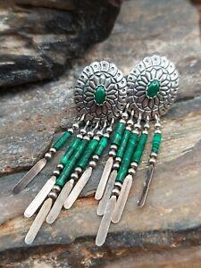 Southwestern Tk Sterling Silver Malachite Heishi Concho Dangle Earrings...