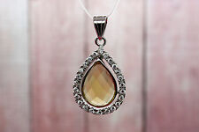 Natural Citrine Pendant Citrine Faceted Drop Shape Stone Silver Plated