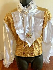 Storybook King/Prince ADULT Halloween ruffle Gold Top shirt size M/L mask-a-rage
