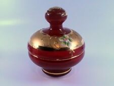 Venetian Murano Italian Ruby Red/Gold Glass Trinket Bowl Hand Painted Enameled F