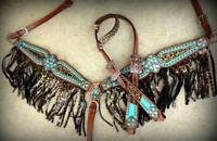 WESTERN HORSE BLING! CHEETAH FRINGE BEJEWLED BRIDLE AND BREAST COLLAR TACK SET
