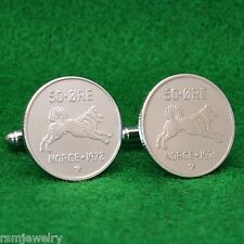 Norwegian Elkhound Spitz Dog Coin Cufflinks, 50 Ore Norway Norge Scandinavian