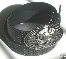 MENS STUDDED BLACK SNAP-ON BELT WITH HORN BUCKLE L 38