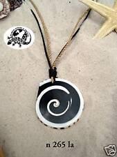BLACK & WHITE BEACH SHELL CORD NECKLACE surf /n265la