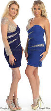SALE 1 SLEEVE COCKTAIL DRESS SHORT PROM EVENING STRETCHY HOMECOMING & PLUS SIZE