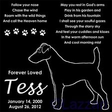 """Personalized Smooth Fox Terrier Dog Pet Memorial 12""""x12"""" Granite Grave Marker"""