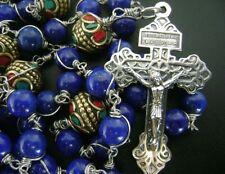 Rare Sterling 925 Silver Lapis lazuli Nepal Handmade Beads Rosary Cross necklace