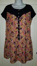 Kimchi Blue Urban Outfitters black orange pink floral silk look dress. M