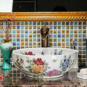 Floral Patterned Bathroom Cloakroom Ceramic Counter Top Wash Kasbah Basin Sink