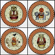 "Sakura HALLOWEEN OWL 8.25"" Dessert Plate Set 4Pc Cat Raccoon Orange Debbie Mumm"