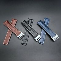 22MM 24MM Leather Strap Band Deployment Clasp Buckle Fits For Breitling Black