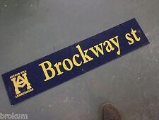 """Vintage Arthur Hill / Brockway St Street Sign 42"""" X 9"""" Gold Lettering On Blue"""