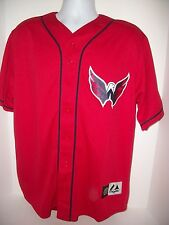 NHL Washington Capitals Short Sleeve Button Front Replica Jersey Men's Large