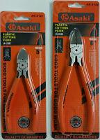 """ASAKI SET of 2 5"""" / 6"""" FLUSH CUT SIDE CUTTERS Diagonal Electrical Wire Cutter"""