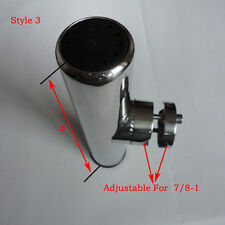 """One 316 Stainless Steel Clamp On Fishing Rod Holder For Rails 7/8"""" to 1"""" Perfect"""