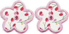"""Lot of 2 pcs 1 1/2"""" x 1 1/2"""" Pink Floral Print 5 Petal Flower Embroidery Patch"""