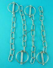 4 x Lynch Pin & Chain 8mm Pin x 40mm Ring Trailer Horse Box & Van Tail Gate Pin
