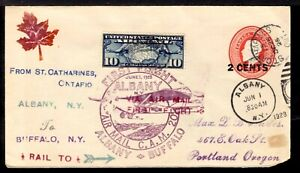 CANADA EN-35 2c COVER with US C-7 10c FOR ALBANY, NY., TO BUFFALO, NY., 1928 FFC