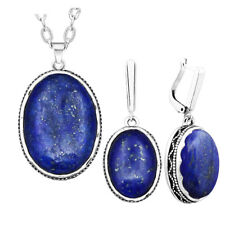 Oval Natural Lapis Lazuli Jewelry Set Antique Silver Plated Necklace Earrings