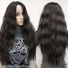 Parted Bang Wig Corn Wavy Curly Black Wig Women Fashion Cosplay Hair Full Wig