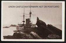 POSTCARD ROYAL NAVY BATTLESHIP HMS MONTAGU WRECKED LUNDY ISLAND 1906 POSTED 1906