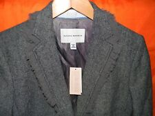 Banana Republic Lined Jacket 10P Gray / Black Chevron Ruffle Lapel Blazer $175