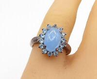 925 Sterling Silver - Vintage Blue Topaz Floral Cocktail Ring Sz 8 - R16624