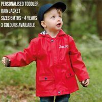 Personalised Children Toddler Lightweight Rain PVC Jacket Kids Coat Hooded