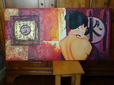 """Grand Tableau a l'huile """"Intimité d'Asie"""", 60 x 120cm"""