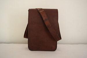 Real Brown Leather Crossbody Messenger Bag Laptop Satchel College School Bags